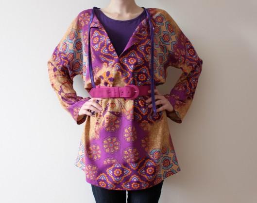 fioletowa tunika, boho tunic, szycie, sewing, handmade, tunika na lato