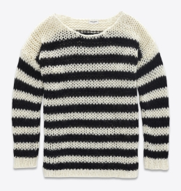 sweter Angeliny czyli YSL Sweater Mini Dress in Ivory and Black Striped Wool and Mohair